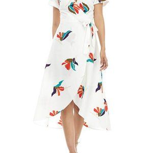 White & Floral Print V-Neck Dress by Madison